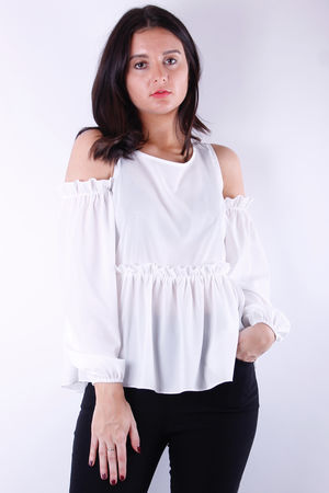 Cold Shoulder Frill Blouse White