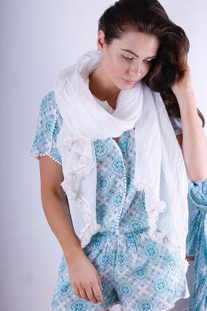Colette White Cotton Scarf