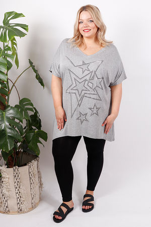 Constellation Diamanté Stud Top Grey