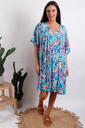 Cool Print Smock Dress Blue