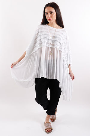 Copenhagen Textured Ruffle Top White