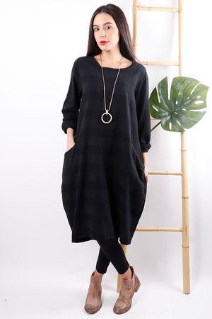 Copenhagen Textured Stripe Dress Black