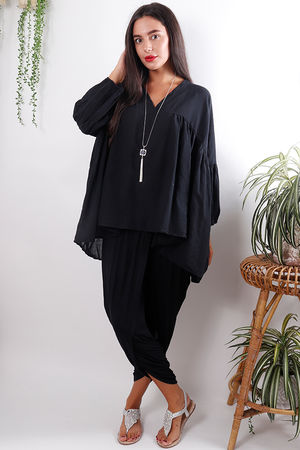 Cotton Smock Black