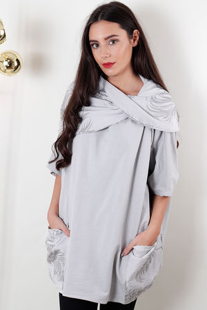 Cowl Print Pocketed Top Light Grey