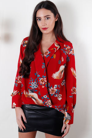 Crane Cross Front Blouse Red
