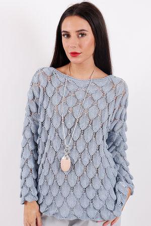Crochet Feather Knit Denim