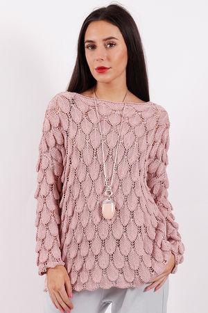 Crochet Feather Knit Dusky Pink