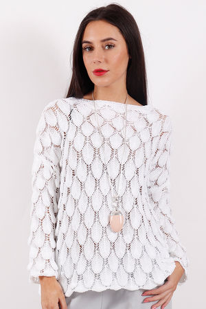 Crochet Feather Knit White