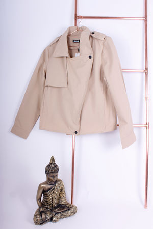 Cropped Trench Coat Beige