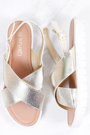 Cross Front Metallic Sandal Gold