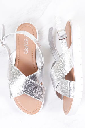 Cross Front Metallic Sandal Silver