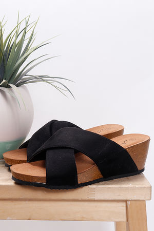Cross Front Mules Black