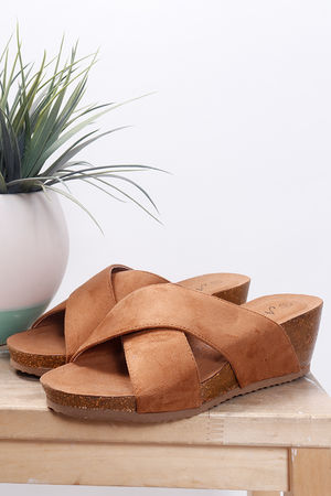 Cross Front Mules Tan