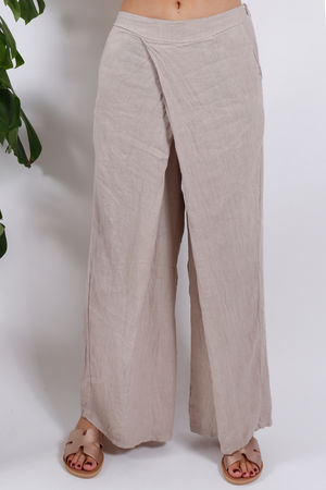 Cross Front Wide Leg Linen Pants Stone