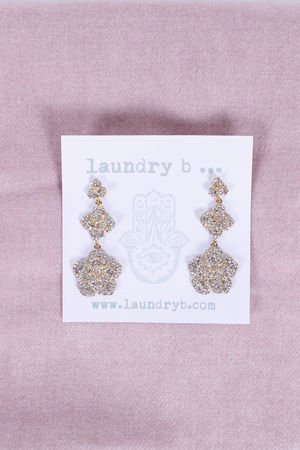 Crystal Flower Chandelier Earrings Gold