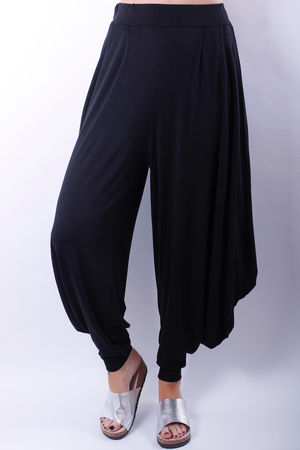 Cuff Bottom Stretch Jersey Pants Black