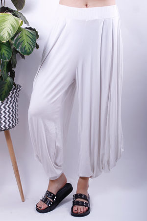 Cuff Bottom Stretch Jersey Pants White