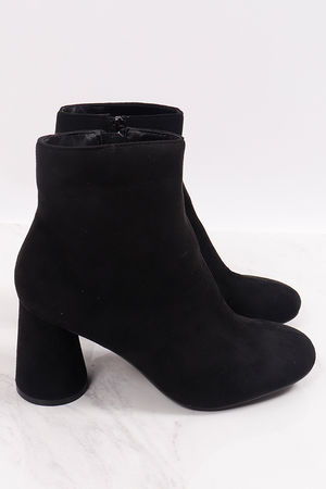 Cylinder Heel Suedette Boots Black