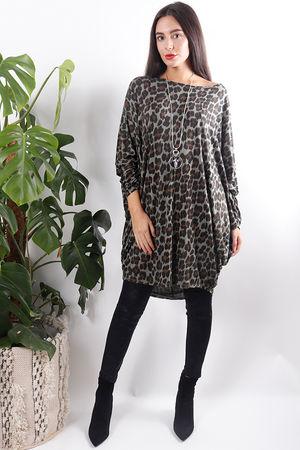 Dawny Leopard Slouch Top Khaki
