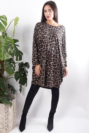 Dawny Leopard Slouch Top Mocha