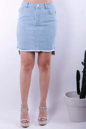 Denim Dip Back Skirt