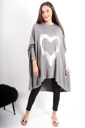 Deux Two Oversized Dawny Metallic Heart Top Shadow Grey