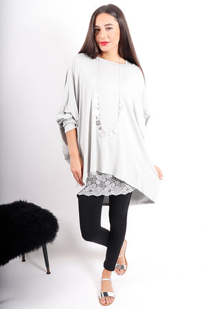 Deux Two Oversized Dip Slouch Top Glacier Grey