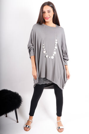 Deux Two Oversized Dip Slouch Top Shadow Grey