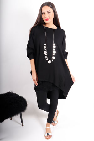 Deux Two Oversized Dip Slouch Top Soul Black