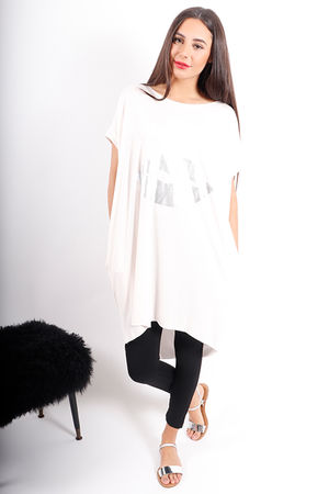 Deux Two Oversized Metallic Lips Tunic Rose Water