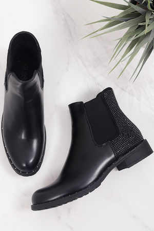 Diamanté Back Boots Black