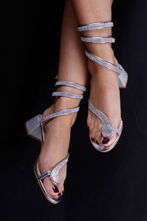 Diamanté Block Heel Wrap Sandals