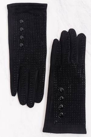 Diamanté Button Gloves Black