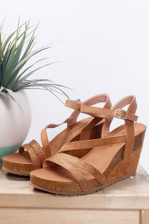 Diamante Cross Front Wedge Tan