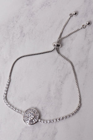 Diamante Disc Bracelet Silver