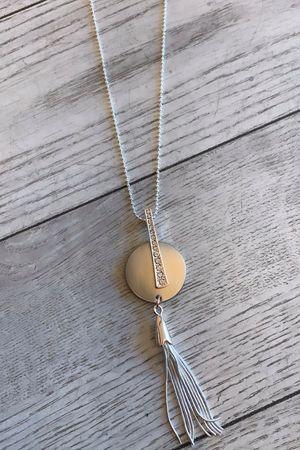 Diamante Disc Tassel Necklace