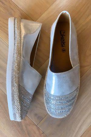 Diamante Espadrilles Silver
