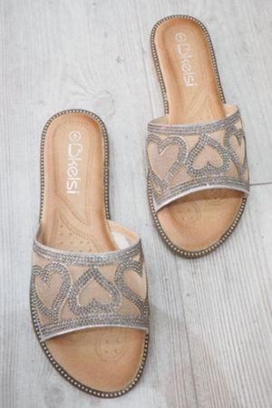 Diamante Heart Sliders Silver