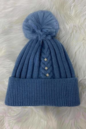 Diamanté Ribbed Bobby Hat Bluebell