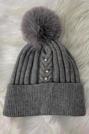 Diamanté Ribbed Bobby Hat Grey