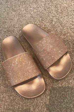Diamante Sliders Rose Gold