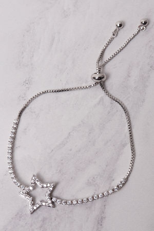 Diamante Star Bracelet Silver