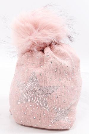 Diamanté Star Pom Pom Hat Blush