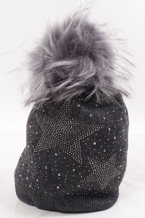 Diamanté Star Pom Pom Hat Graphite