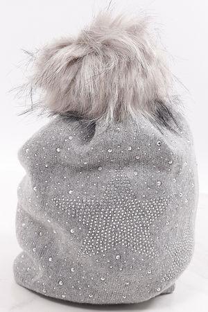 Diamanté Star Pom Pom Hat Marl Grey