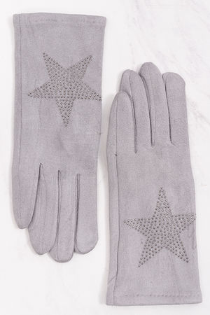Diamanté Star Suedette Gloves Grey