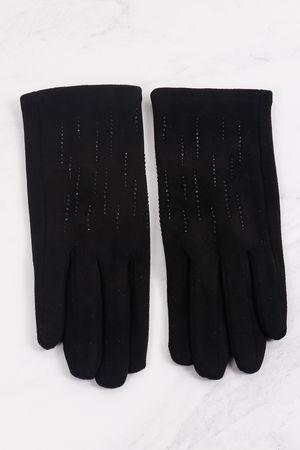 Diamanté Stretch Suedette Gloves Black
