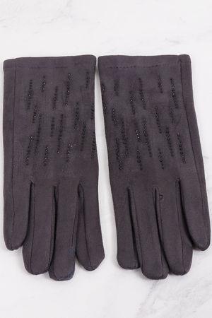 Diamanté Stretch Suedette Gloves Latte