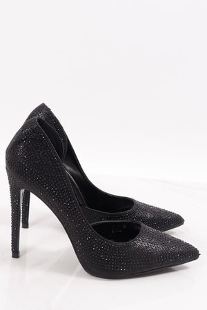 Diamanté Stud Heels Black