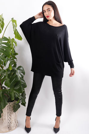 Diamanté Two Pocket Knit Black